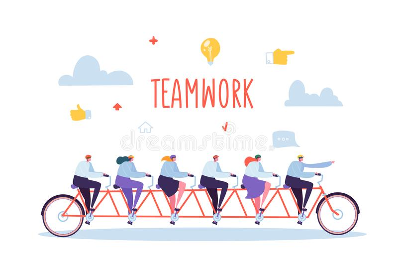 Affär Team Work och samarbetsbegrepp Plana folktecken som rider sex Person Tandem Bicycle vektor illustrationer