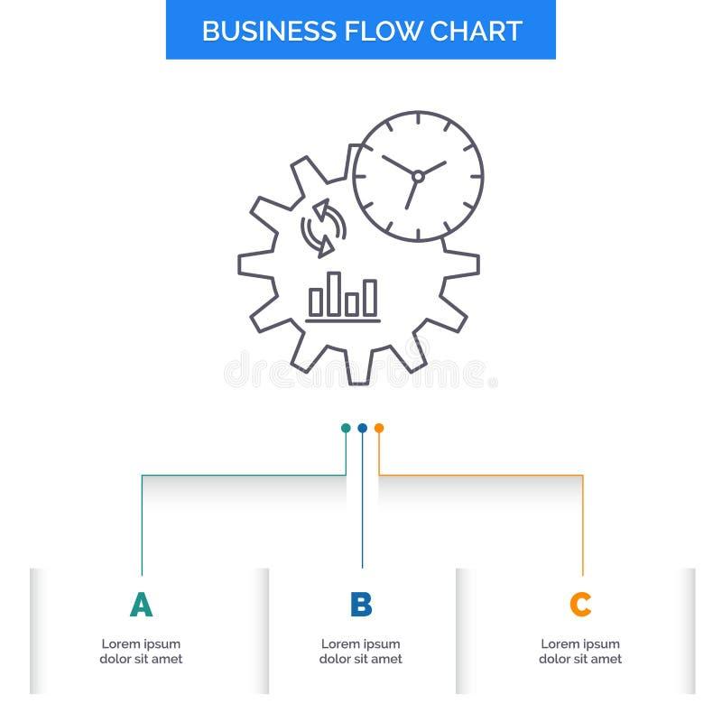 Affär teknik, ledning, design för diagram för processaffärsflöde med 3 moment Linje symbol f?r presentationsbakgrundsmall royaltyfri illustrationer