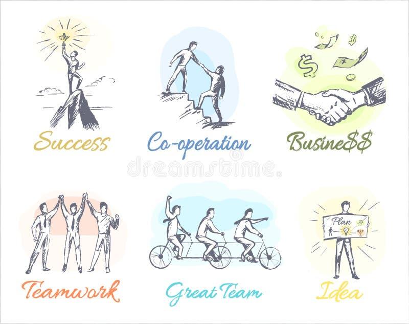 Affär-Themed skissar av lönande samarbete stock illustrationer