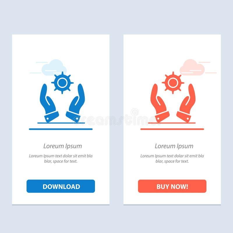 Affär, utveckling, modernt, blåa lösningar och röd nedladdning och att köpa nu mallen för rengöringsdukmanickkort royaltyfri illustrationer
