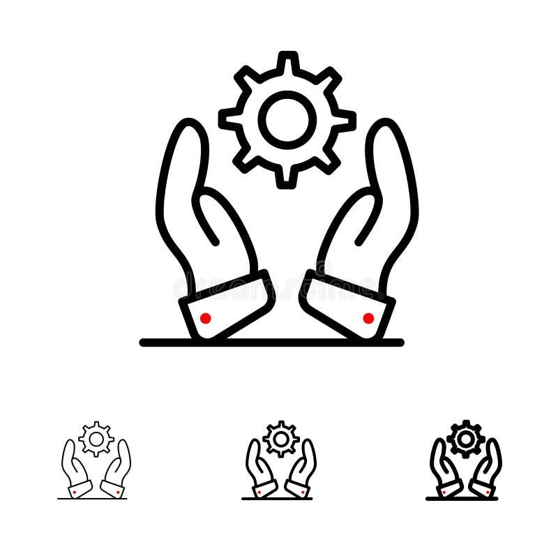 Affär, utveckling, modernt, djärva lösningar och tunn svart linje symbolsuppsättning vektor illustrationer