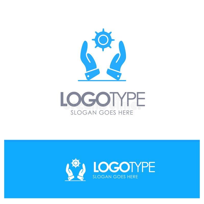Affär utveckling som är modern, blå fast logo för lösningar med stället för tagline stock illustrationer