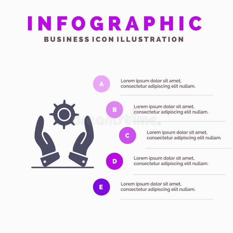 Affär utveckling som är modern, för symbolsInfographics 5 för lösningar fast bakgrund för presentation moment royaltyfri illustrationer