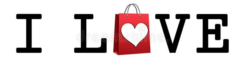 affären älskar jag metaforshopping Shoppingpåse och hjärta royaltyfri illustrationer