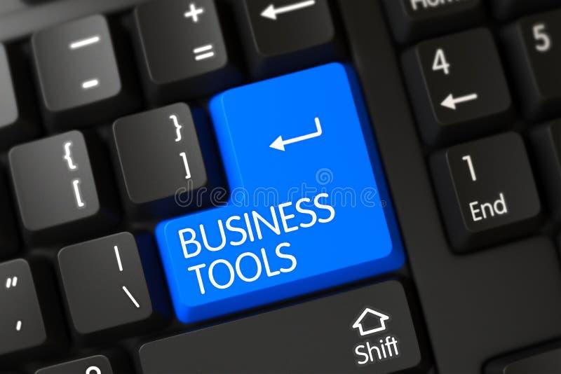 Affären bearbetar closeUpen av den blåa tangentbordknappen 3d royaltyfri bild