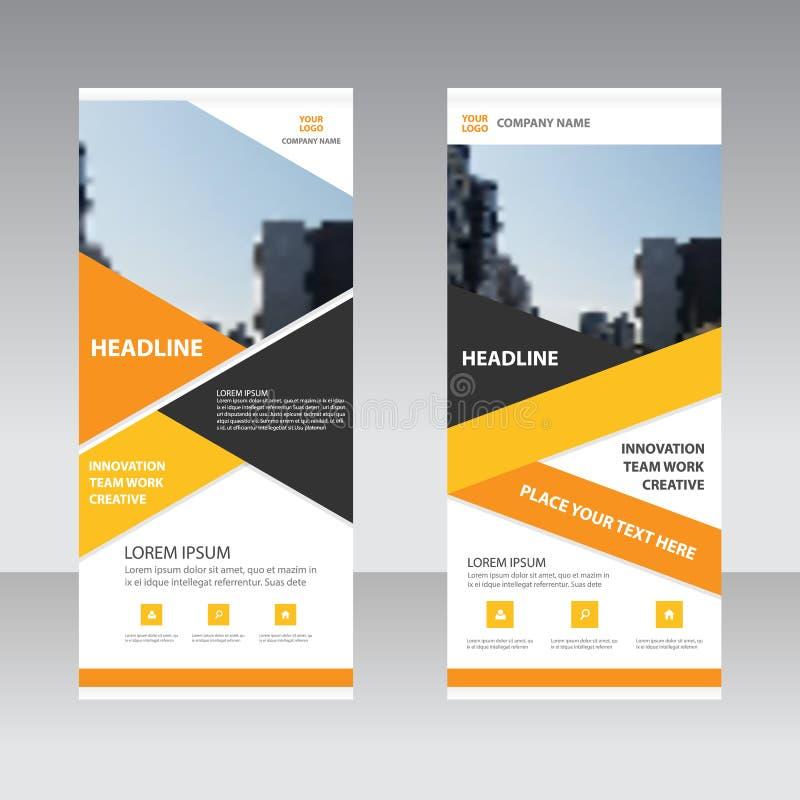 Affären för orange guling rullar upp mallen för banerlägenhetdesignen, för banermall för abstrakt begrepp geometrisk uppsättning  stock illustrationer