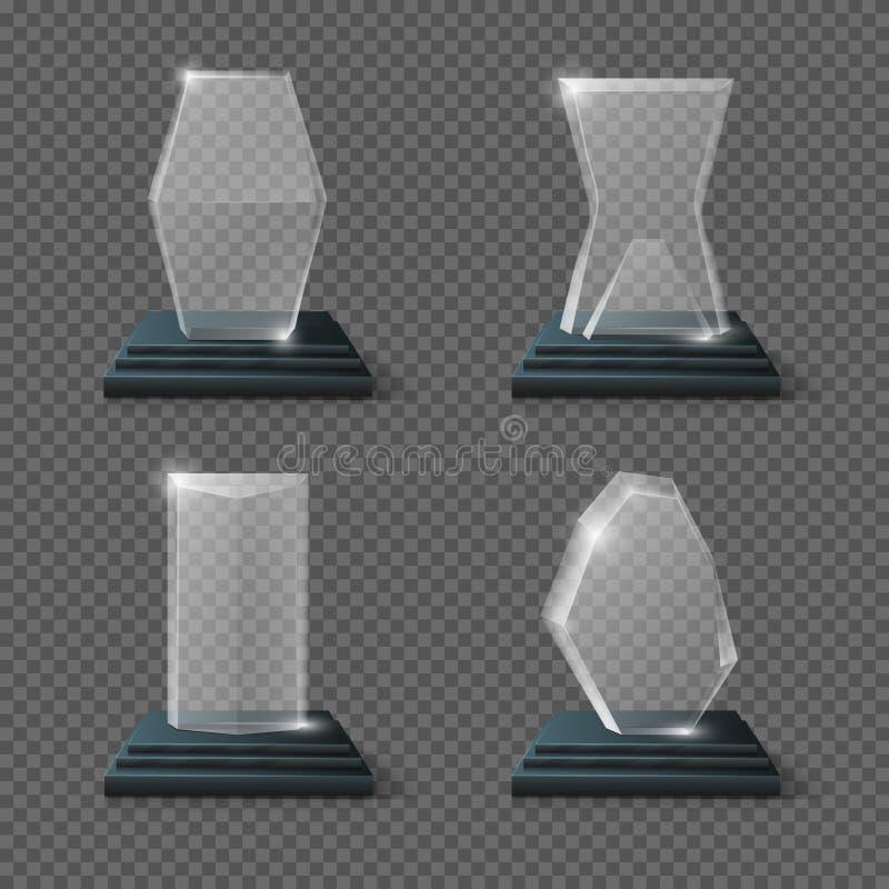Affären för trofén för Crystal exponeringsglas tilldelar den vinnande vektoruppsättningen stock illustrationer