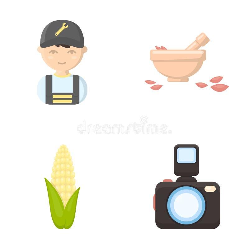 Affären, handel, yrket och annan rengöringsduksymbol i tecknad film utformar bilder information, apparatursymboler i uppsättnings royaltyfri illustrationer