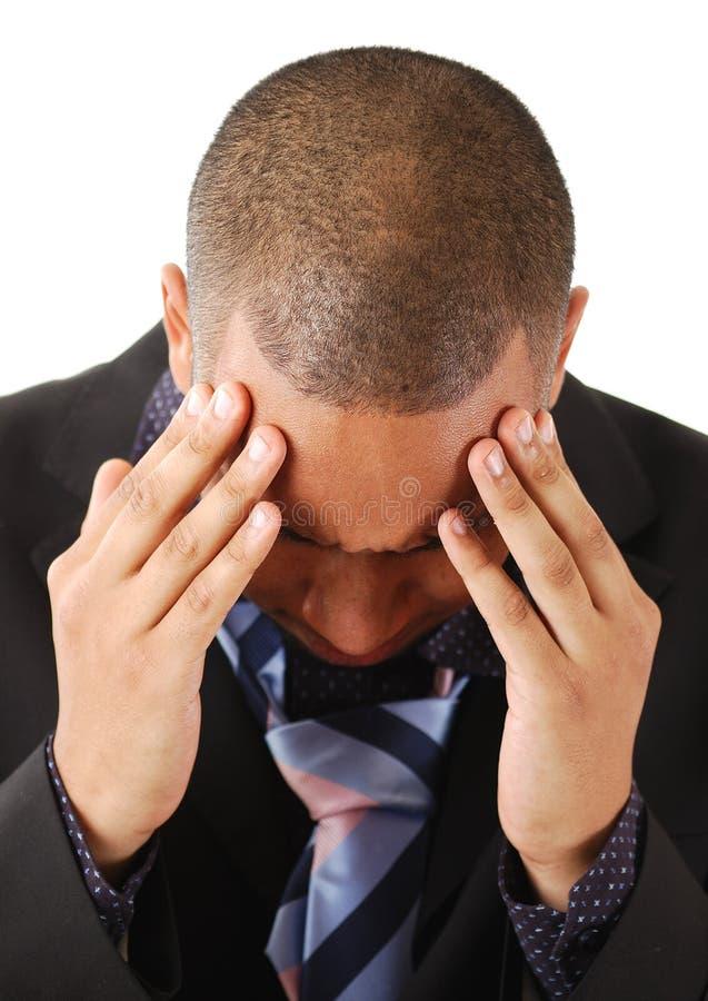 affären hands huvudet hans man arkivbild