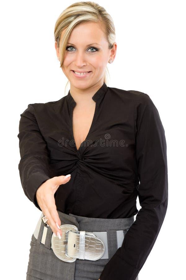 affären hands klar shake till kvinnan royaltyfria foton