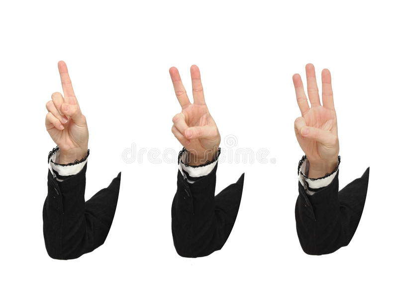 affären hands numret som visar tre arkivfoto