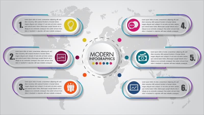 Affären Infographics 6 kliver idérik datavisualization för begrepp Processdiagram Modern stil, diagram med moment, alternativ vektor illustrationer