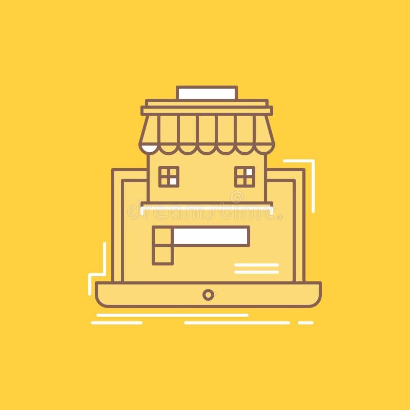 affären marknadsplatsen, organisationen, data, den plana linjen för online-marknaden fyllde symbolen Härlig logoknapp över gul ba royaltyfri illustrationer