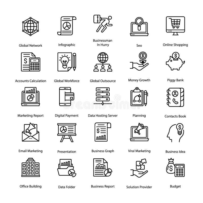 Affären och timme-linjen symboler packar vektor illustrationer