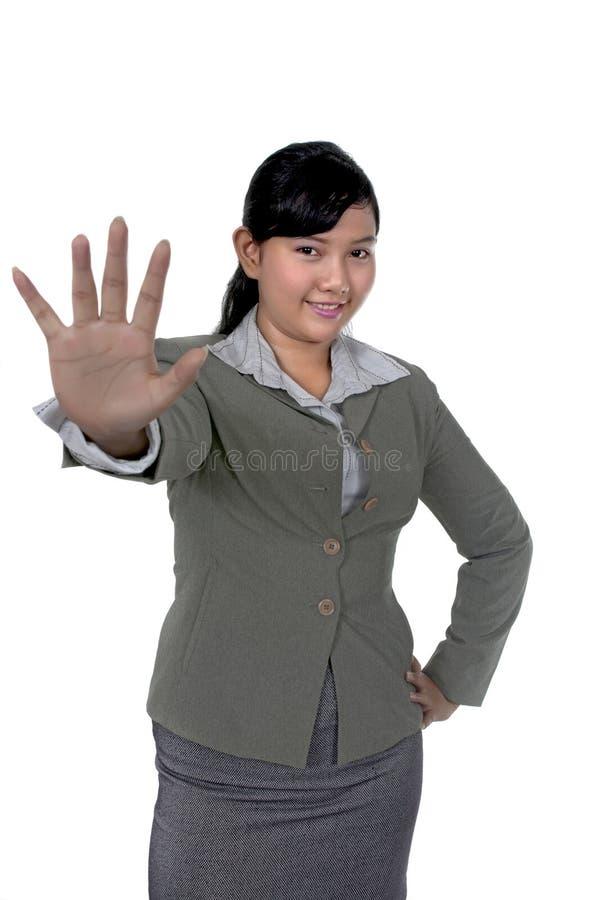 affären säger stoppkvinnan royaltyfri bild