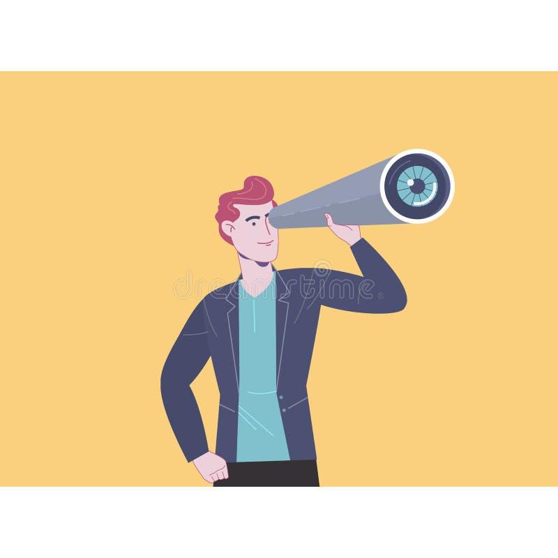 affären ser manteleskop Affärsvision och ledarskapbegrepp Plan vektorillustration vektor illustrationer