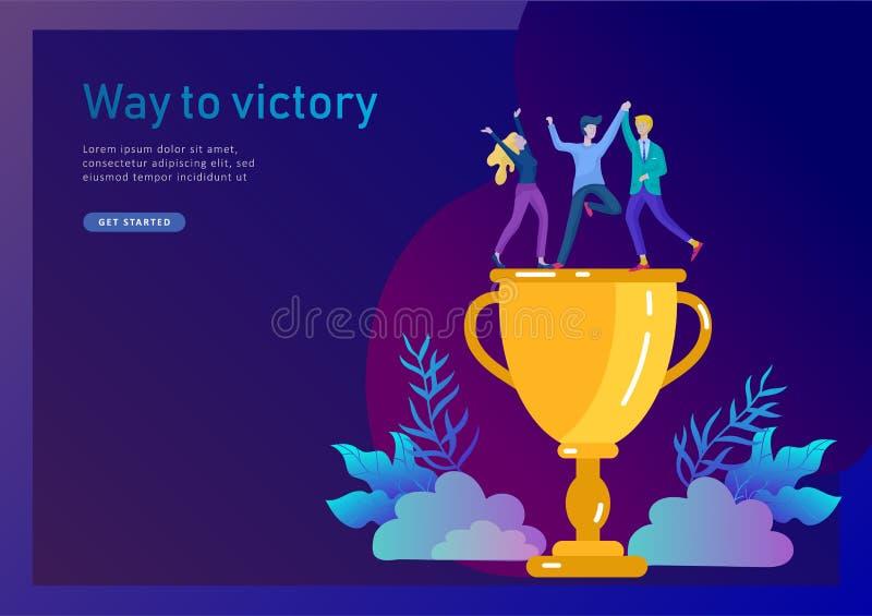 Affären Team Success rymmer den guld- vinnarekoppen, begrepp av folk är lycklig med seger Kontorsarbetare som firar med royaltyfri illustrationer