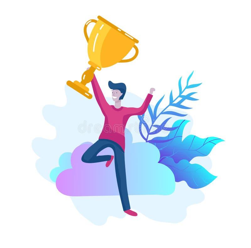 Affären Team Success rymmer den guld- vinnarekoppen, begrepp av folk är lycklig med seger Kontorsarbetare som firar med stock illustrationer