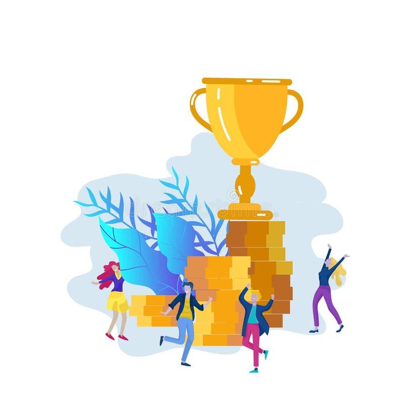 Affären Team Success rymmer den guld- vinnarekoppen, begrepp av folk är lycklig med seger Kontorsarbetare som firar med vektor illustrationer
