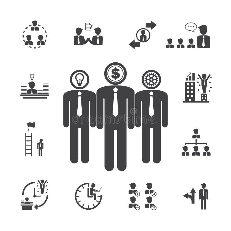 Affären teams anagementsymboler stock illustrationer