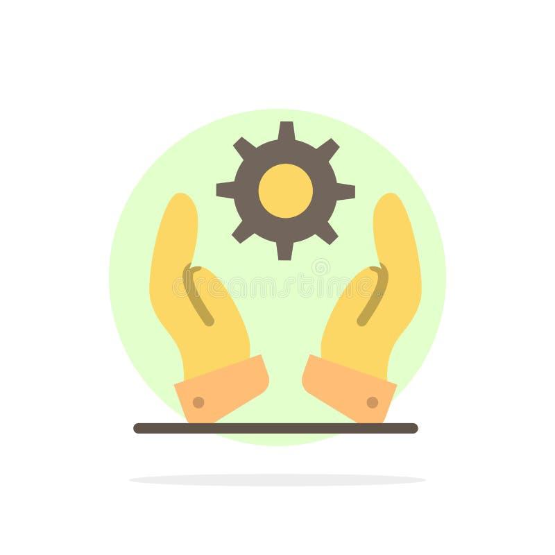 Affären utveckling som är modern, lösningar gör sammandrag symbolen för färg för cirkelbakgrund den plana stock illustrationer