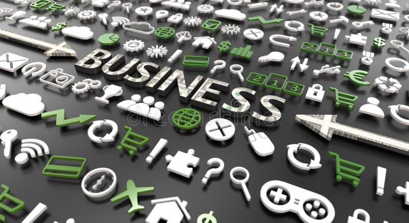 'affärers ord med symboler 3d royaltyfri illustrationer