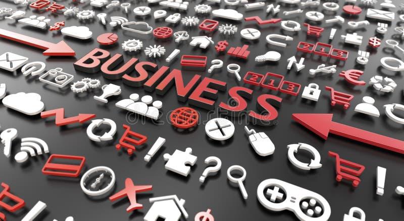 'affärers ord med symboler 3d stock illustrationer