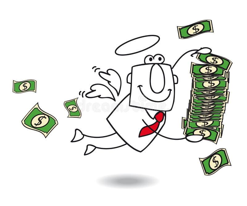 Affärsängeln kommer med pengar royaltyfri illustrationer