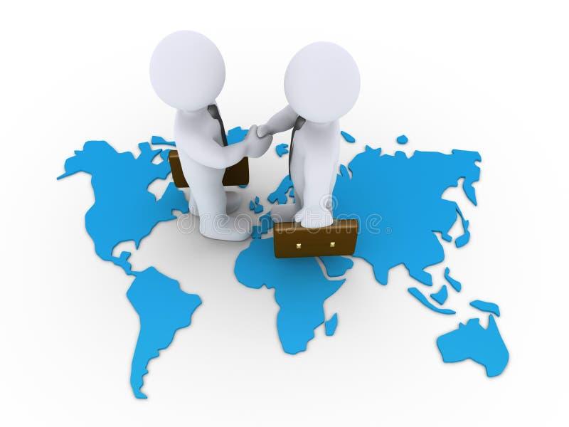 Affärsöverenskommelse på en världskarta royaltyfri illustrationer