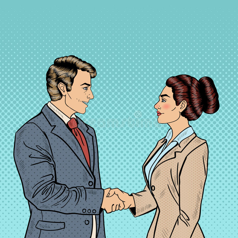 Affärsöverenskommelsepartnerskap Pop Art Businessman och handskakning för affärskvinna stock illustrationer
