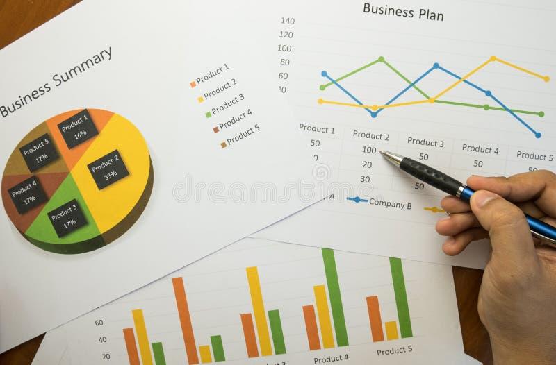 Affärsöversikt eller rapport för affärsplan med diagram och grafer i affärsidé fotografering för bildbyråer