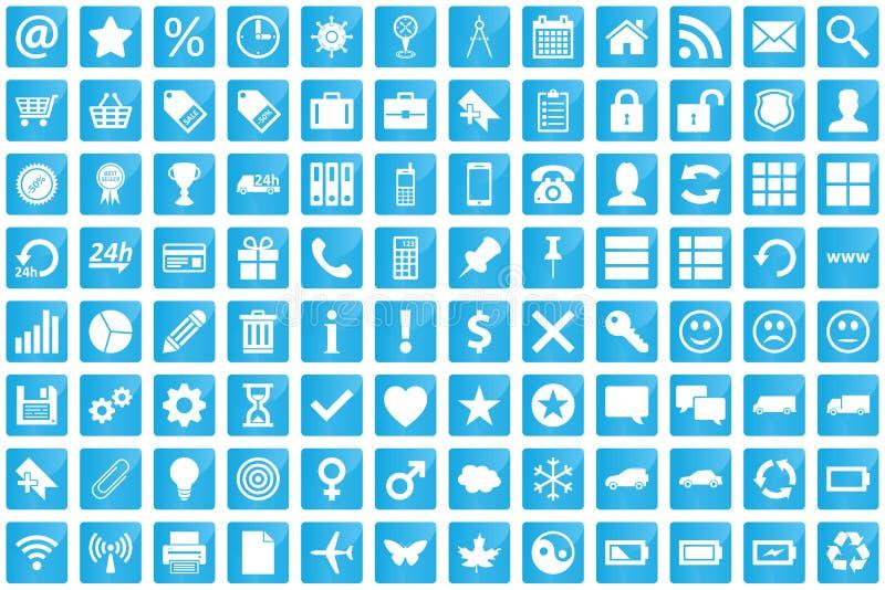 Affärs-, e-kommers, rengöringsduk- och shoppingsymboler som är fastställda i modernt, utformar royaltyfri illustrationer