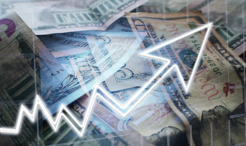 Affärs- & finansbegrepp av investeringar som växer till och med sammansatt intresse, utdelningReinvestment, kapitalvinster & högk arkivbilder