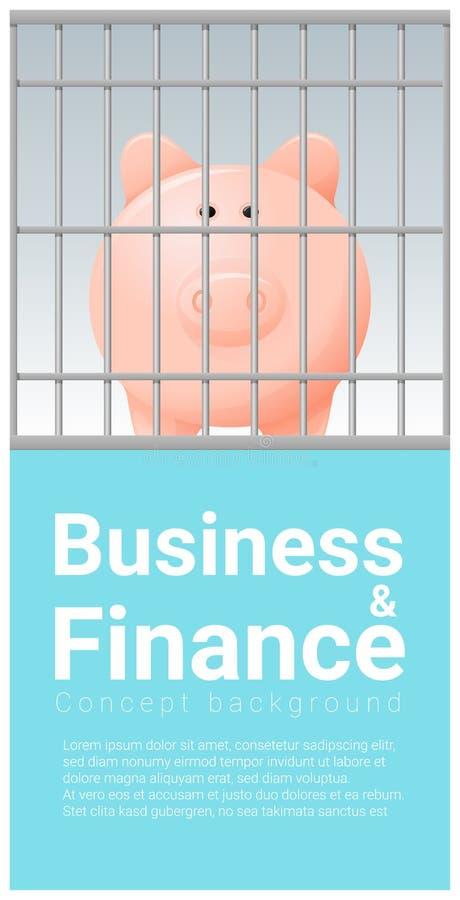 Affärs- och finansbegreppsbakgrund med spargrisen i arrest vektor illustrationer