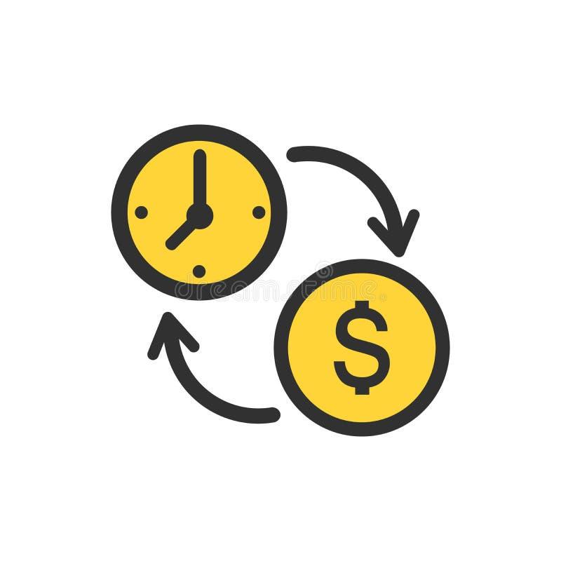Affärs- och finansledningsymbol i plan stil Tid är pengarillustrationen på vit bakgrund Finansiell strategiaffär stock illustrationer