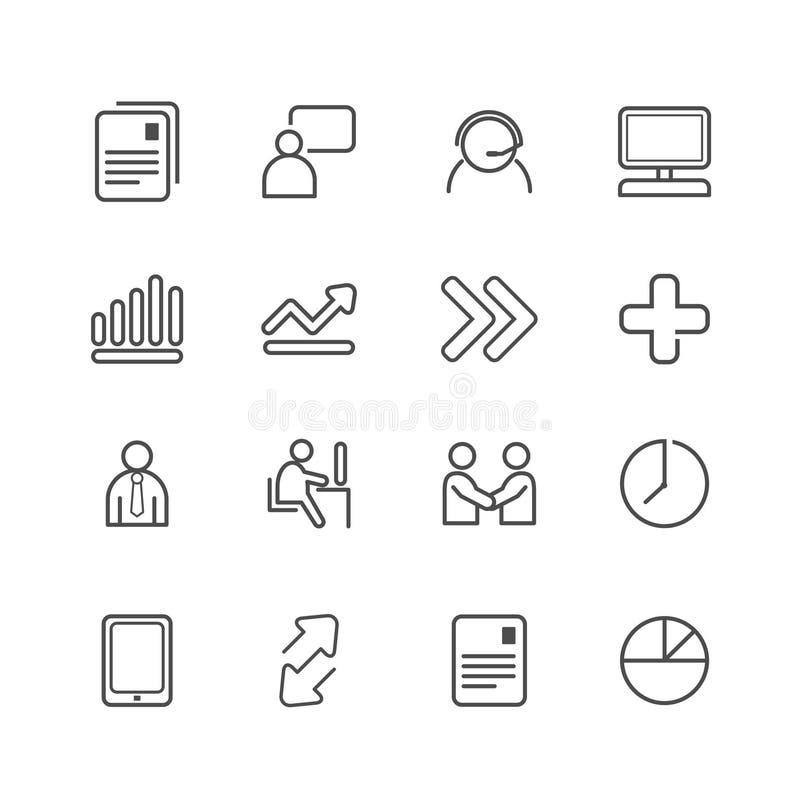 Affärs- och finanslinje symbolsuppsättning. royaltyfri illustrationer