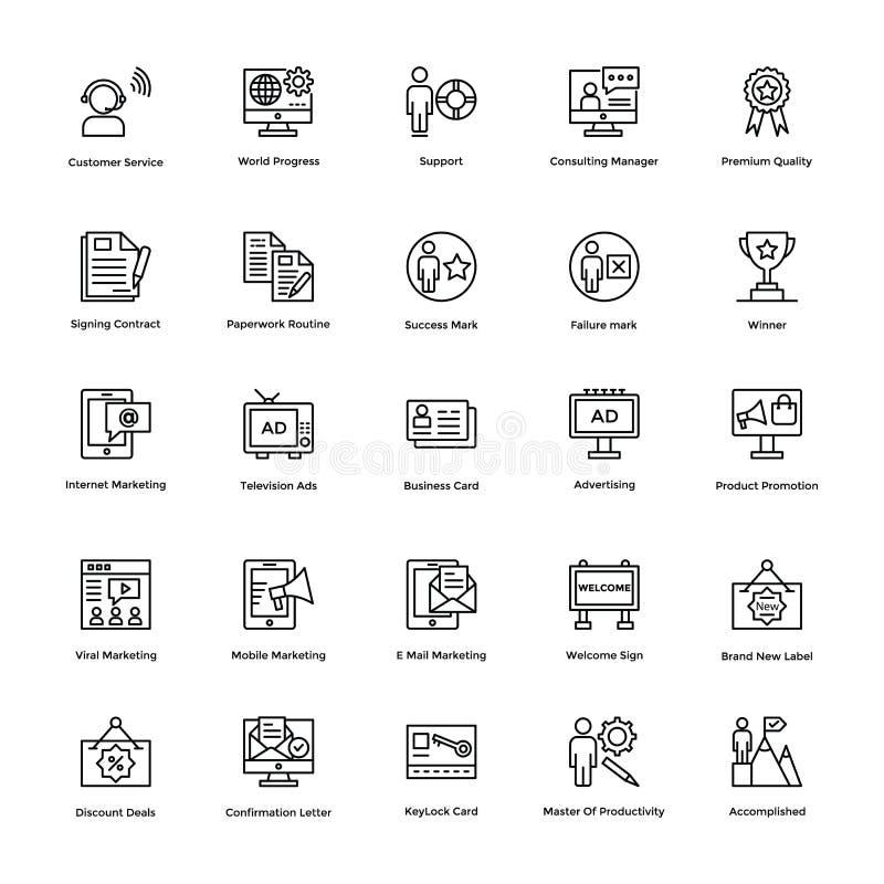 Affärs- och finanslinje vektorsymboler 6 stock illustrationer