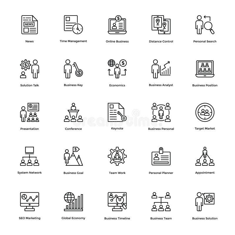 Affärs- och finanslinje vektorsymboler 6 royaltyfri illustrationer