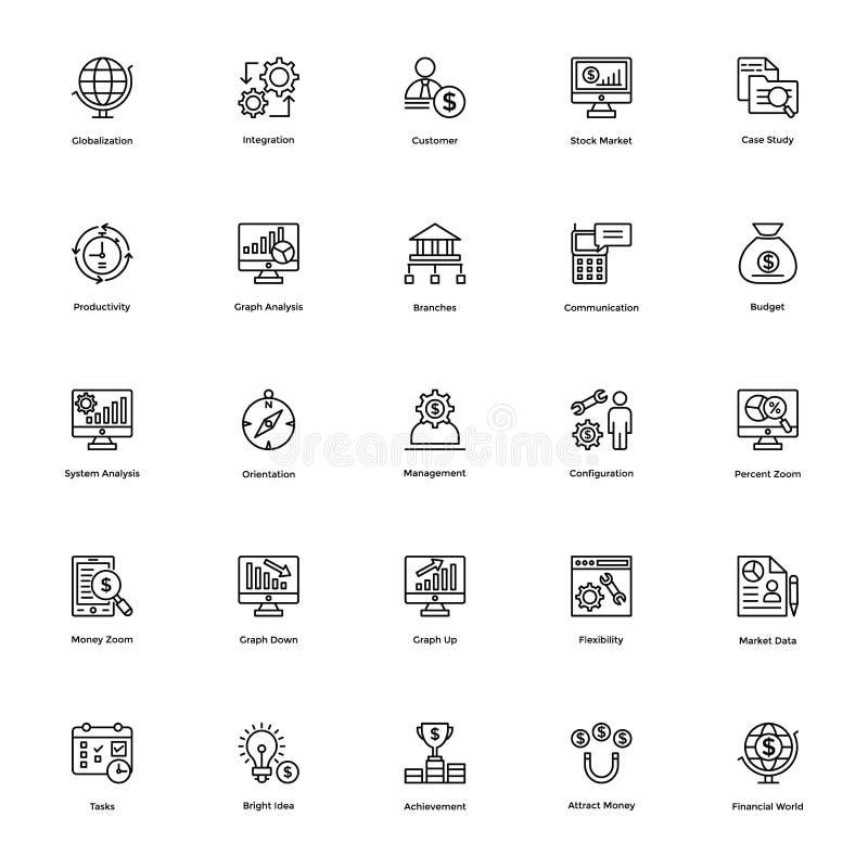 Affärs- och finanslinje vektorsymboler 16 royaltyfri illustrationer