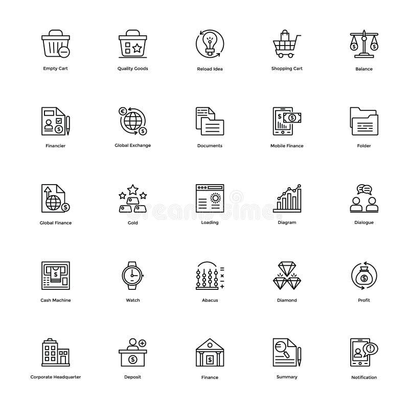 Affärs- och finanslinje vektorsymboler 15 stock illustrationer