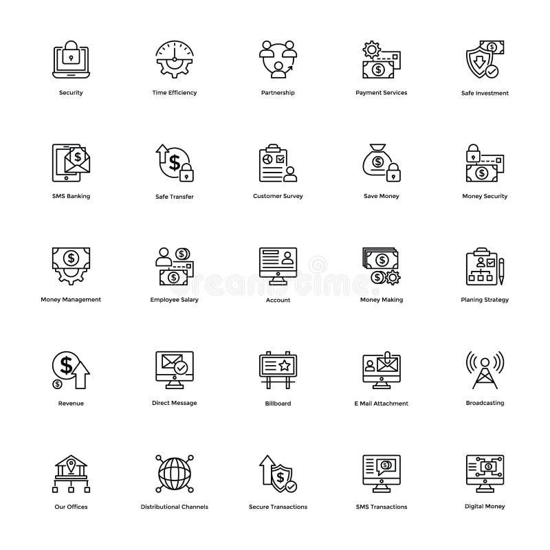 Affärs- och finanslinje vektorsymboler 21 vektor illustrationer