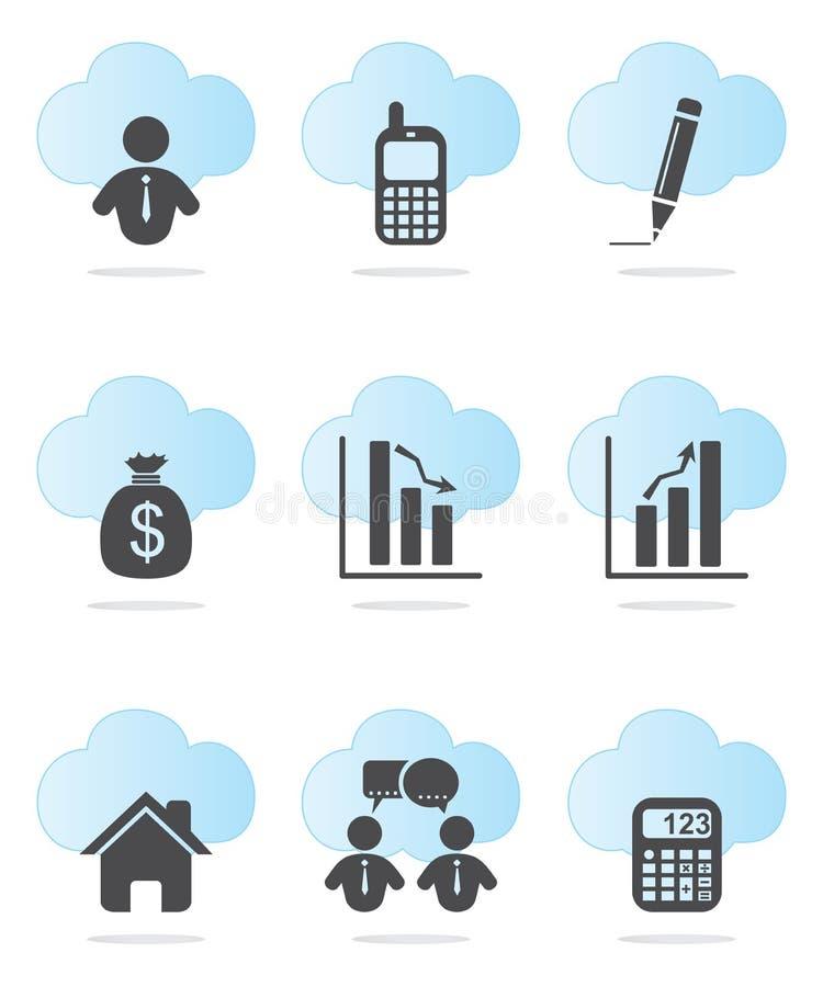 Affärs- och finanssymboler royaltyfri illustrationer