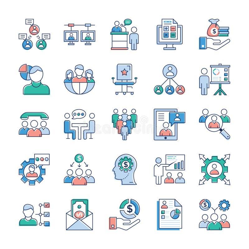 Aff?rs- och jobbsymboler packar stock illustrationer