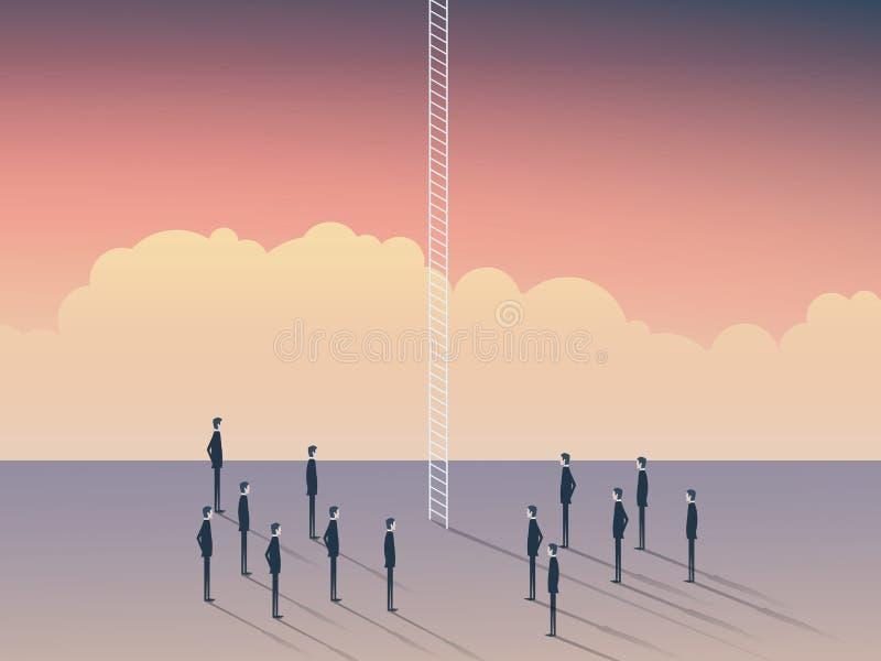 Affärs- och karriärtillfällen, företags stege Affärsmän som står för att klättra ovanför moln, himmel är gränsen royaltyfri illustrationer