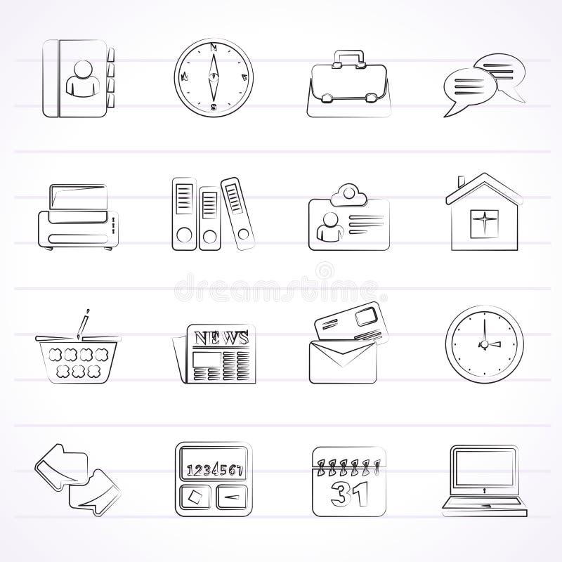 Affärs- och kontorssymboler vektor illustrationer
