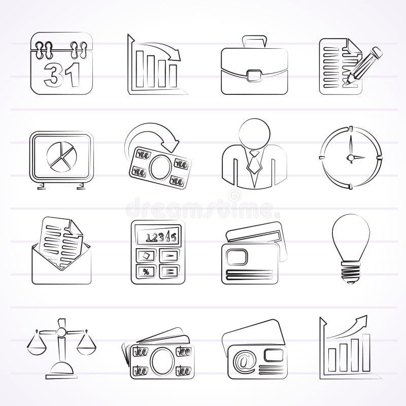 Affärs- och kontorssymboler royaltyfri illustrationer