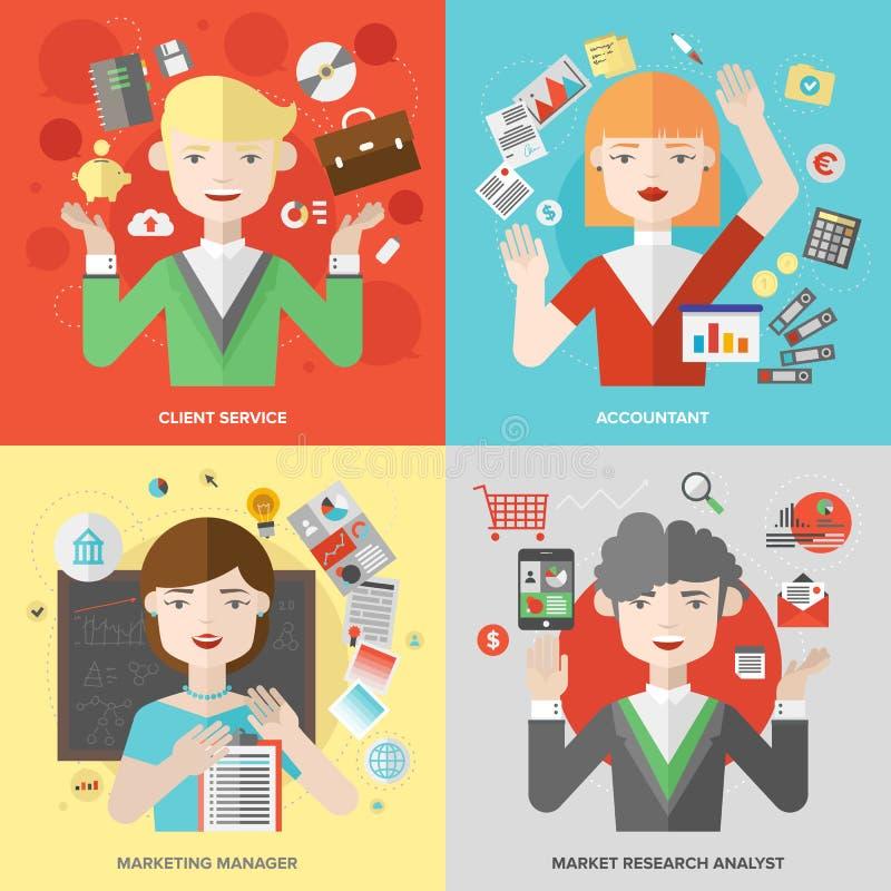 Affärs- och marknadsföringsyrken sänker illustrationen royaltyfri illustrationer