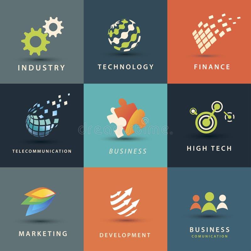 Affärs- och teknologisymbolsuppsättning royaltyfri illustrationer