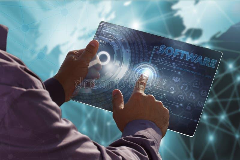 Affärs-, teknologi-, internet- och nätverksbegrepp Ung busin royaltyfria bilder