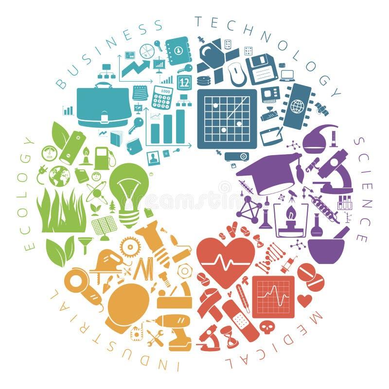 Affärs-, teknologi- och vetenskapssymbolsinfographics vektor illustrationer